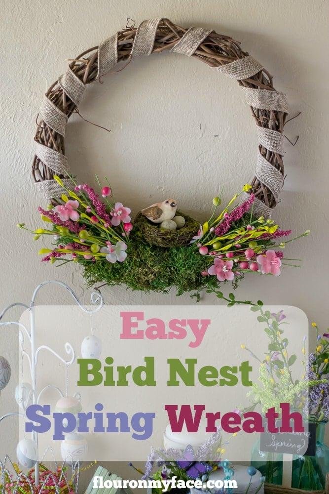 Easy DIY Bird Nest Spring Wreath via flouronmyface.com