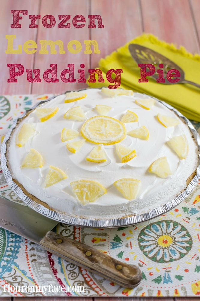 Frozen Lemon Pudding Pie make a perfect summer dessert recipe via flouronmyface.com