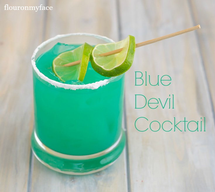 Blue Devil Cocktail is a Blue Curacao Drink recipe that you will fall in love with via flouronmyface.com