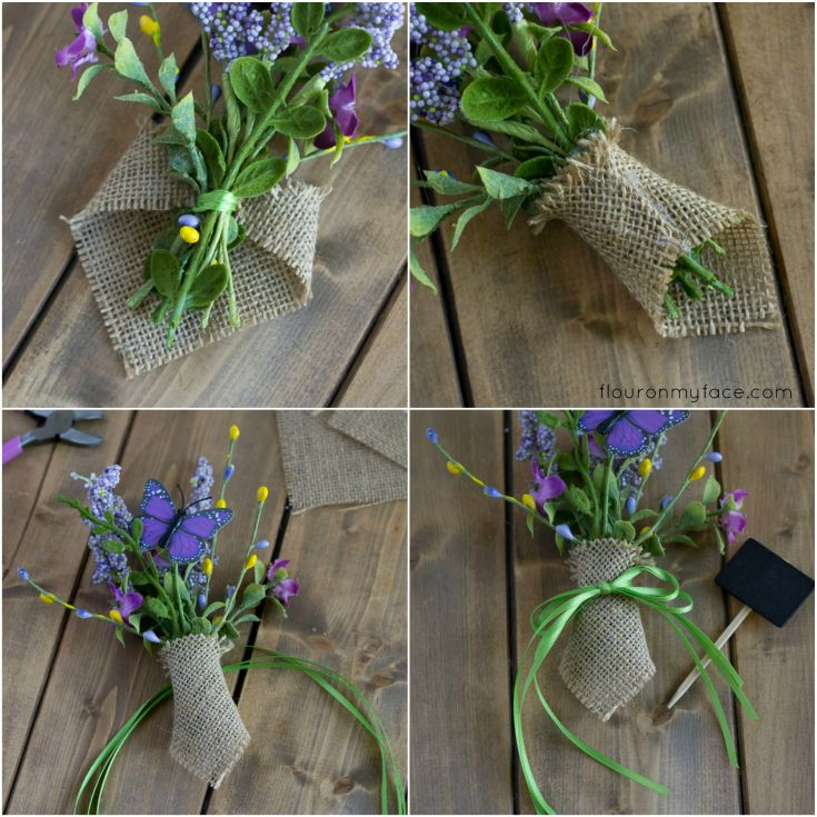 How to make a mini floral posie for Spring Birch Bark Candles via flouronmyface.com