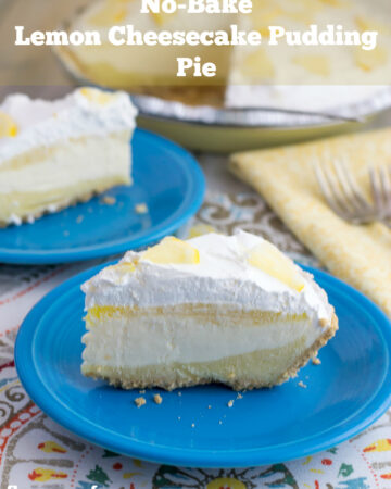No-Bake Lemon Cheesecake Pudding Pie recipe via flouronmyface.com