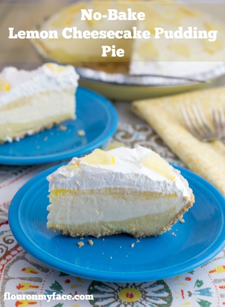 No-Bake Lemon Cheesecake Pudding Pie recipe via flouronmyface.com