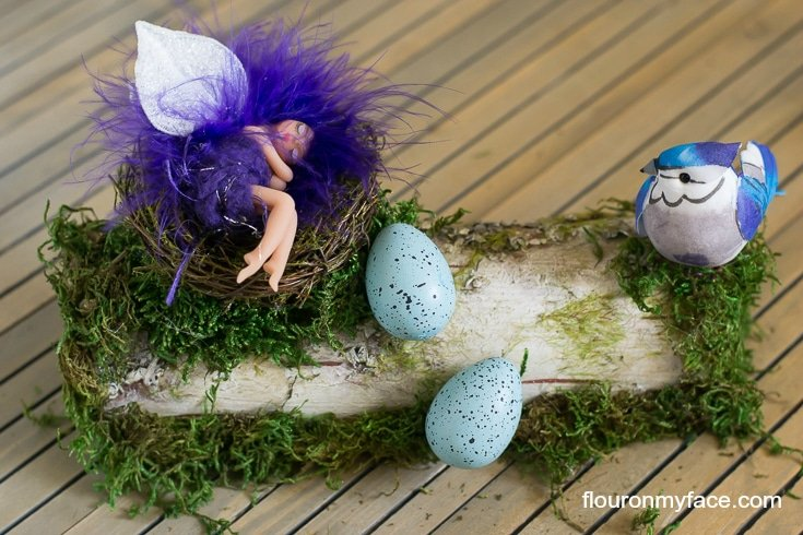 Finished DIY Whimsical Garden Fairy Sleeping on a Log via flouronmyface.com