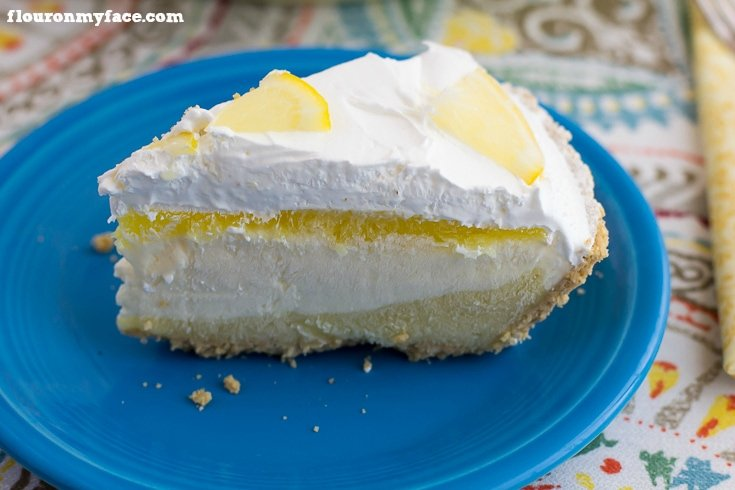 Serve a slice of this No-Bake Lemon Pudding Pie recipe at your next family gathering. It is a very easy pie recipe to make and lemon pies are perfect to cool you off via flouronmyface.com