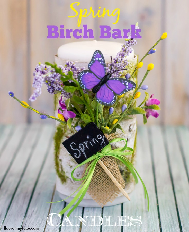 DIY Spring Birch Bark Candles via flouronmyface.com