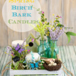 Easy Spring Decor - How to make Spring Birch Bark Candles via flouronmyface.com