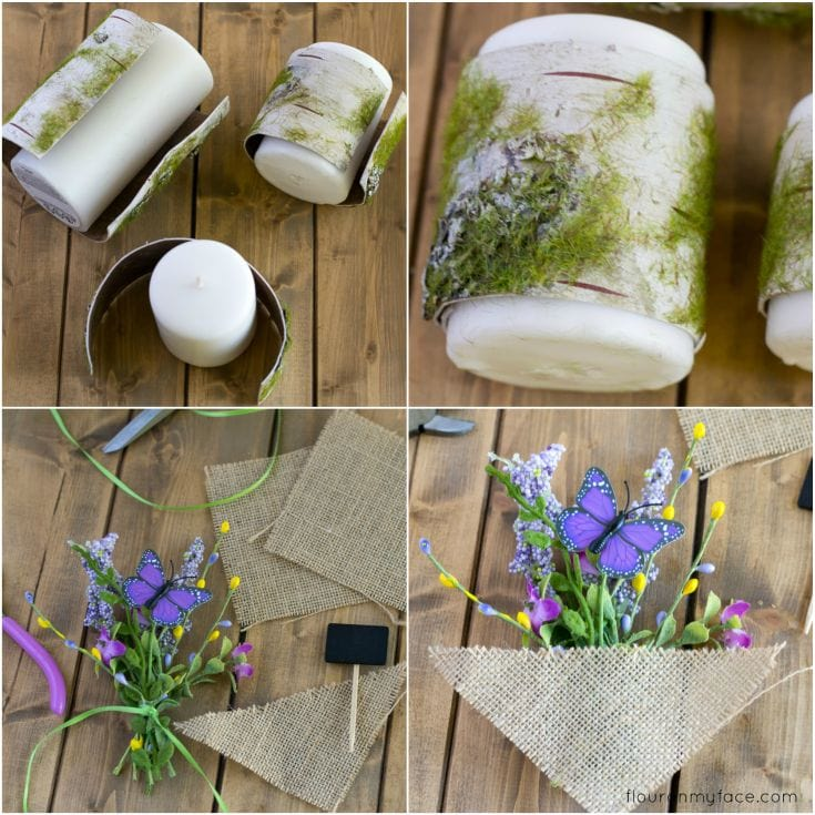 How to make Spring Birch Bark Candles with Step by Step Tutorial via flouronmyface.com