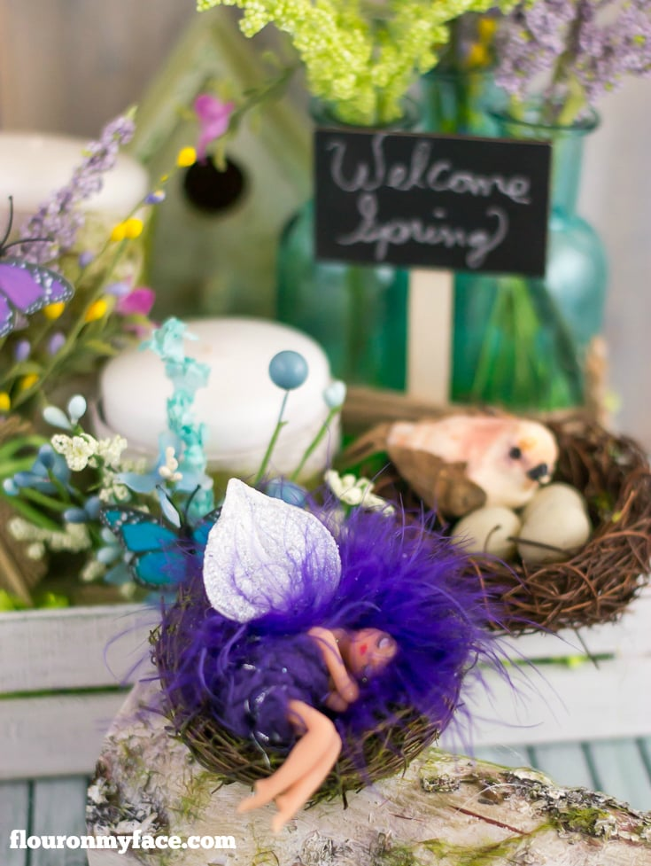 Welcome Spring with this Sleeping Fairy on a birch bark log via flouronmyface.com