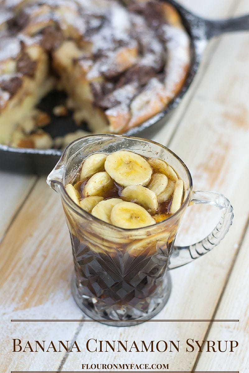 Nutella French Toast Casserole topped with Cinnamon Banana Syrup via flouronmyface.com