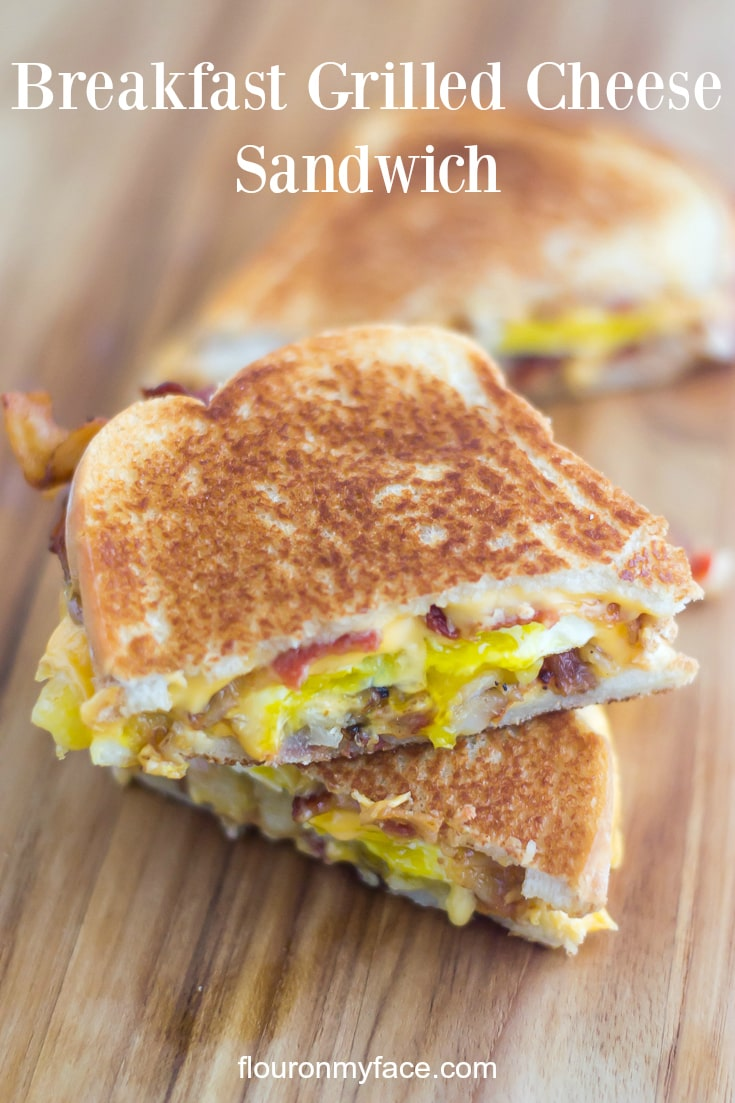 Breakfast Grilled Cheese Sandwich recipe via flouronmyface.com