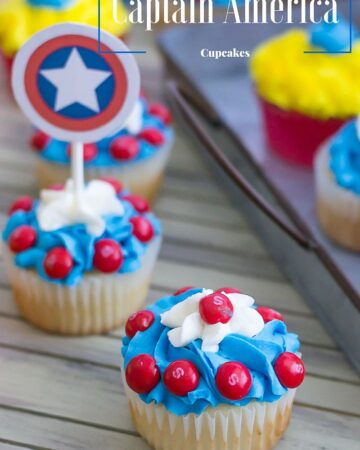 Captain America Cupcakes to celebrate the release of the new Marvel Civil War Movie via flouronmyface.com