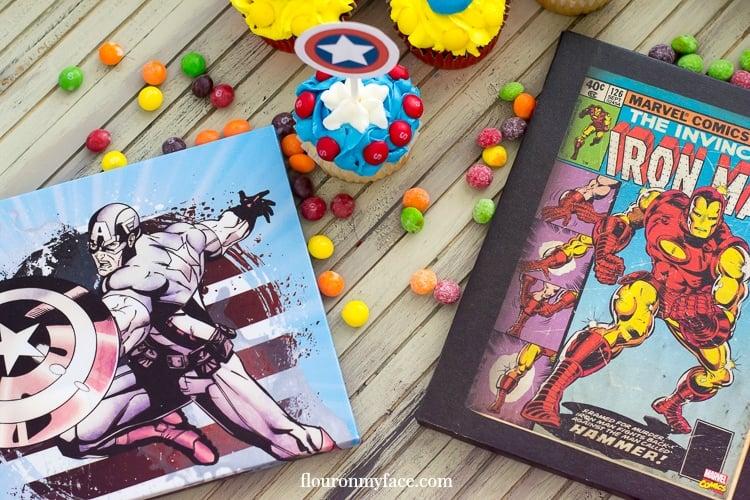 Captain America Iron Man Cupcakes via flouronmyface.com #ad