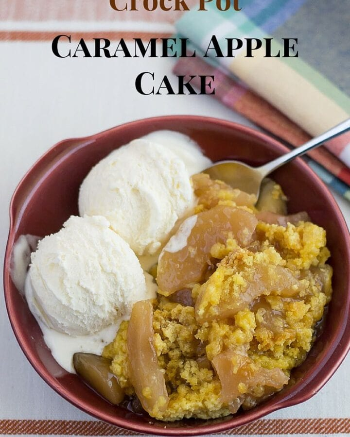 Crock Pot Caramel Apple Cake recipe via flouronmyface.com