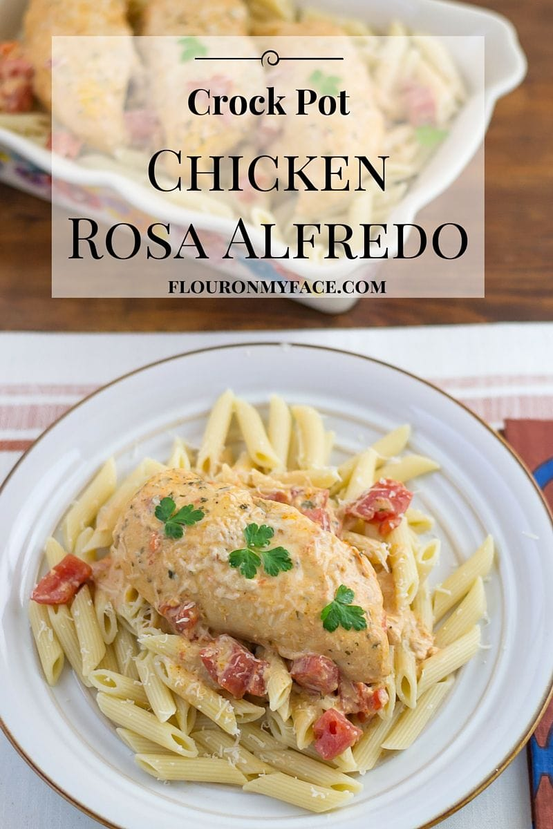 Crockpot recipe: Crock Pot Chicken Rosa Alfredo recipe via flouronmyface.com