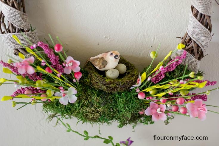 DIY Bird Nest Spring Wreath instructions via flouronmyface.com