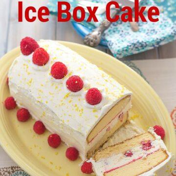 Easy No-Bake Raspberry and Lemon Curd Ice Box Cake recipe via flouronmyface.com