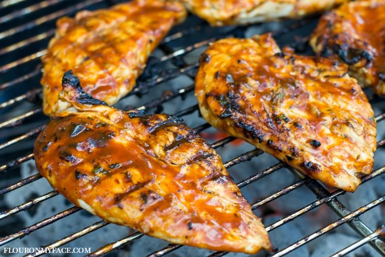 BBQ Cilantro Pineapple Grilled Chicken via flouronmyface.com #ad