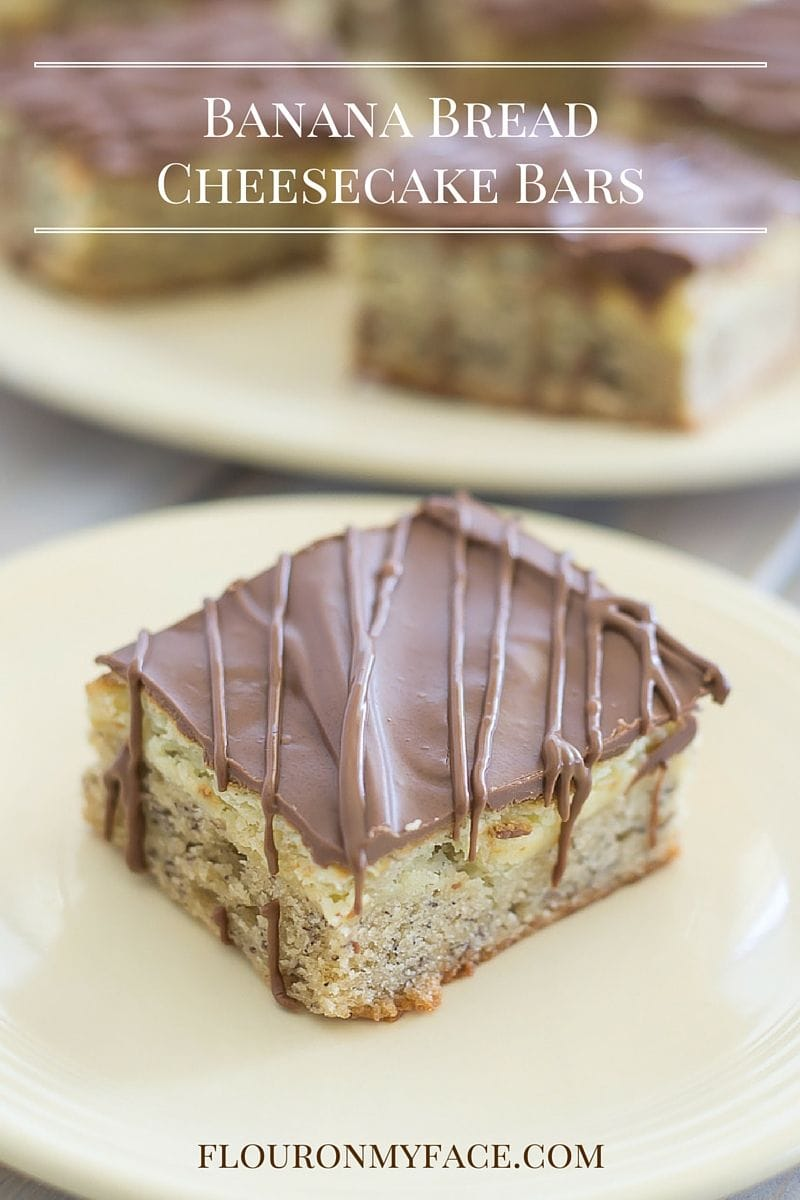 Homemade Banana Bread Cheesecake Bars recipe via flouronmyface.com