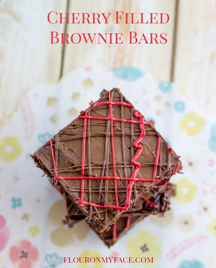 Cherry Filled Brownie Bars-Black Forest Brownies via flouronmyface.com