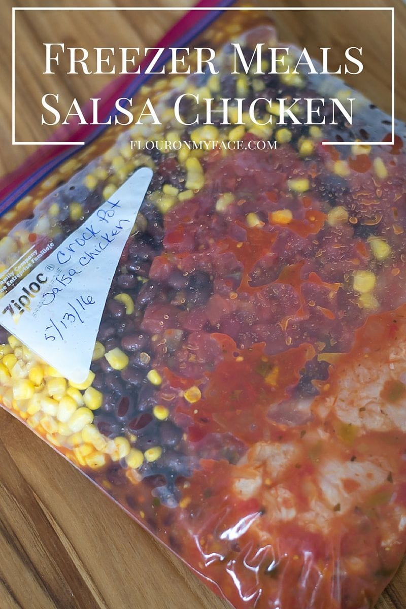 Easy Freezer Meals Crock Pot Salsa Chicken recipe via flouronmyface.com