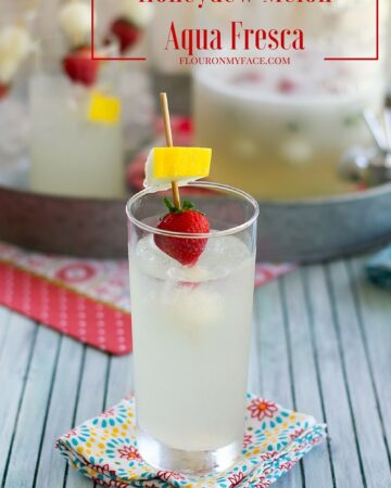 Cool off and your next barbecue with a tall glass of Honeydew Melon Aqua Fresca. It is a refreshingly lightly sweetened summer beverage recipe via flouronmyface.com