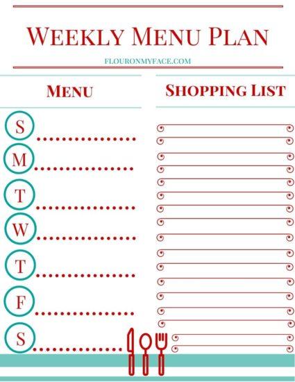 Free weekly Menu Planning Printable preview
