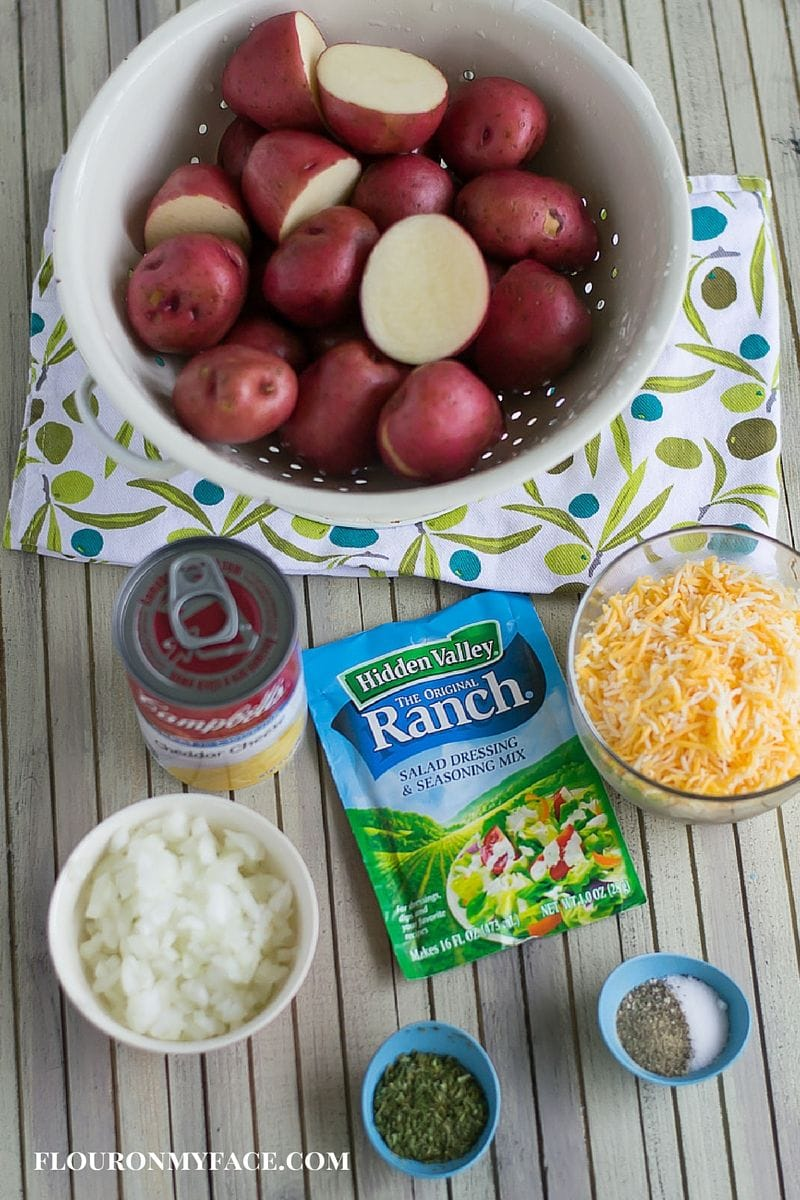 Easy Freezer Meal Side dish recipe: Freezer Meal Cheesy Ranch Potatoes ingredients via flouronmyface.com