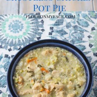 Crock Pot Crustless Chicken Pot Pie recipe is gluten free and low carb. A creamy sauce with chicken and vegetables is delicious and a perfect family recipe via flouronmyface.com