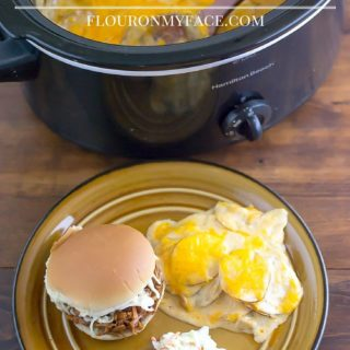 Crockpot recipe: Crock Pot Scalloped Potatoes side dish recipe via flouronmyface.com