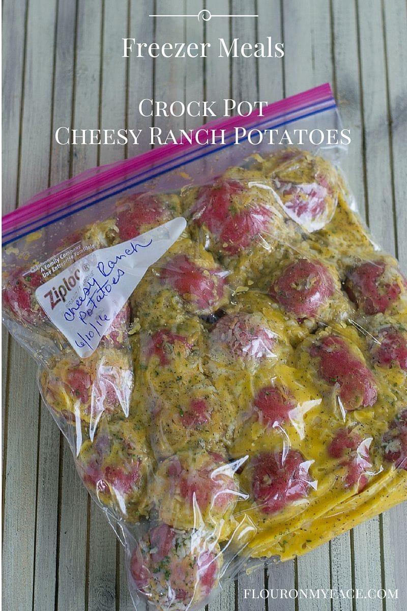 Crock Pot Freezer Meals recipe: Freezer Meal Cheesy Ranch Potatoes recipe via flouronmyface.com