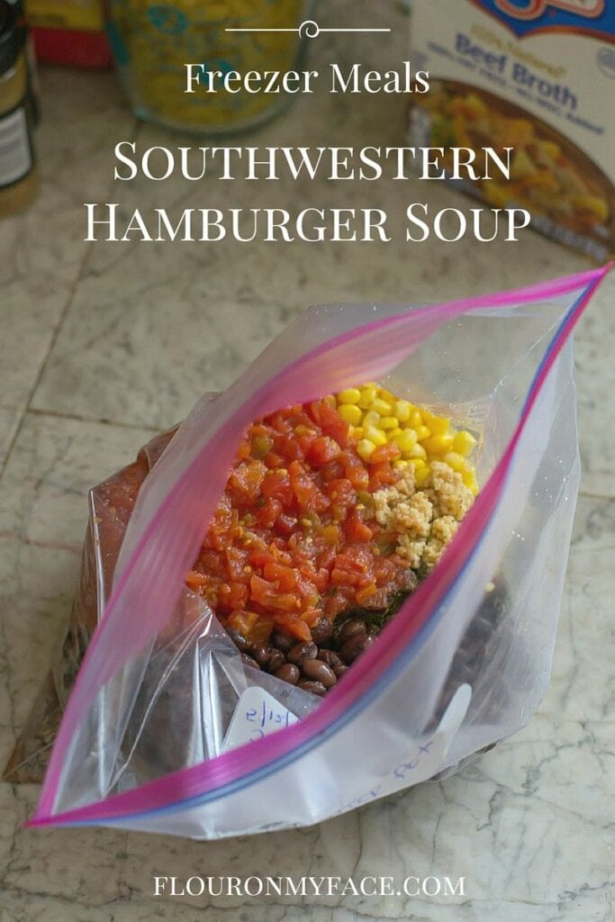 Freezer Meals: Crock Pot Southwestern Hamburger Soup recipe via flouronmyface.com
