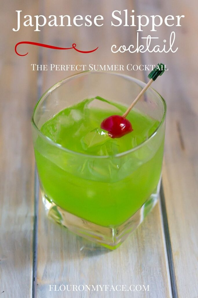 Summer Cocktail recipes: Japanese Slipper Cocktail recipe is another perfect cocktail recipe using green melon Midori liquor via flouronmyface.com