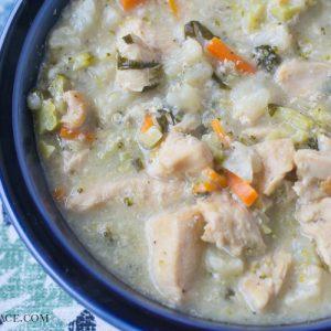 Low Carb Crock Pot Crustless Chicken Pot Pie recipe via flouronmyface.com