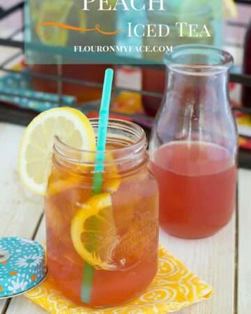 Cool off with this summer drink recipe for Peach Iced Tea via flouronmyface.com it is an easy fruit flavored tea recipe made with homemade peach syrup that is easy to make.