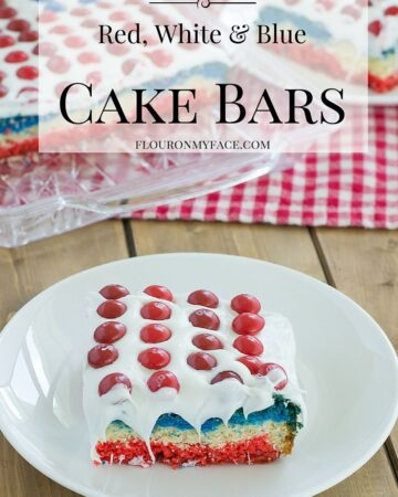 Red-White-Blue Cake Bars using Skittles and decorated like a Flag to celebrate the 4th of July via flouronmyface.com #ad