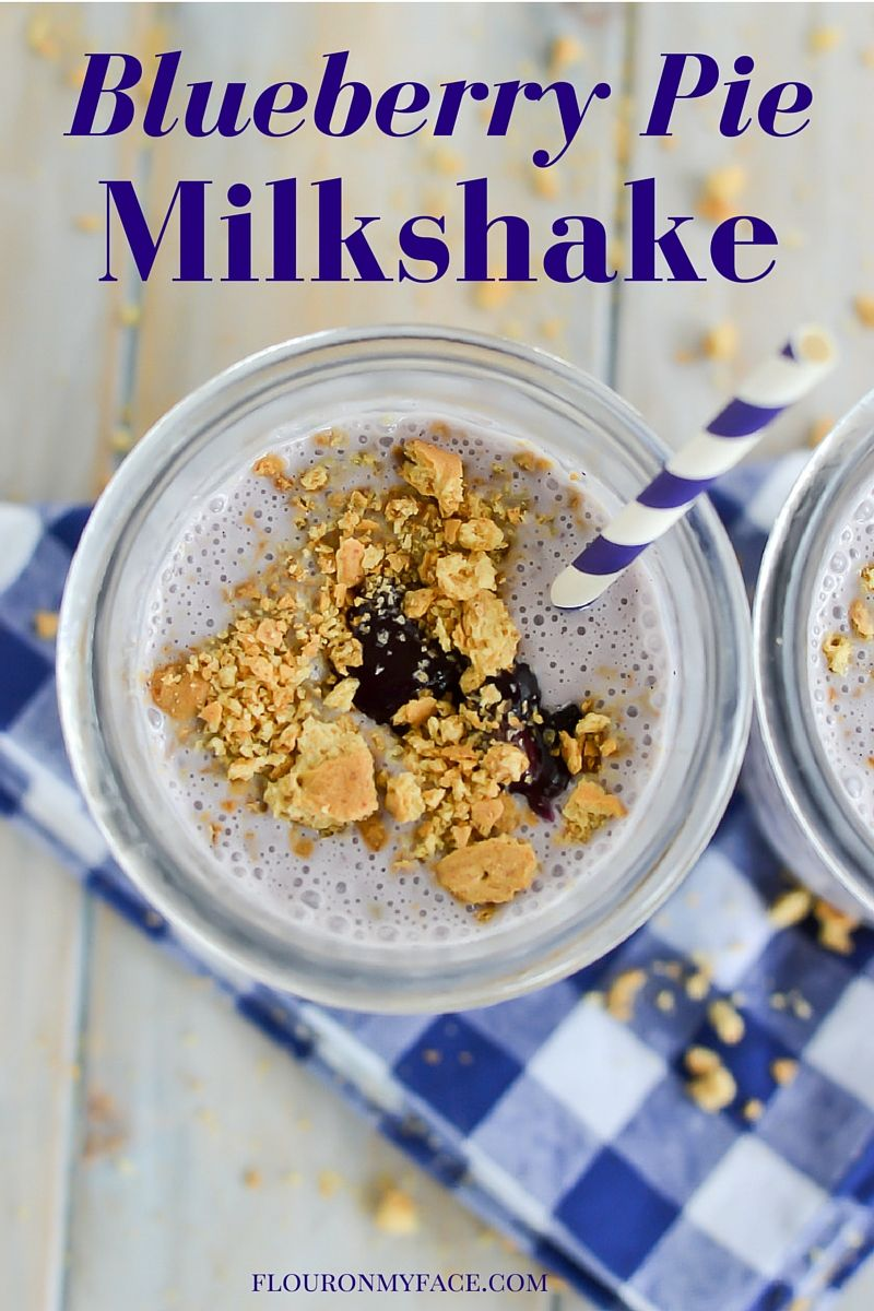 Blueberry Pie Milkshake recipe using lactose free ice cream via flouronmyface.com #ad #DairyEnvy #Lactaid
