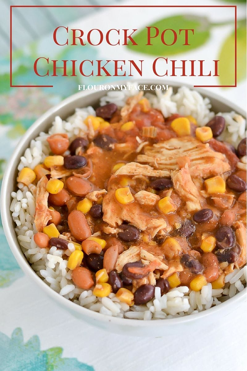 Crock Pot Chicken Chili recipe is perfect any night of the week via flouronmyface.com