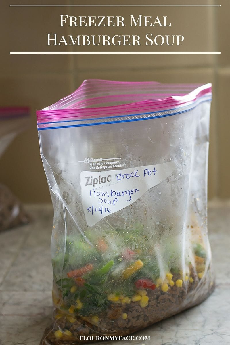 Freezer Meals: Hamburger Soup recipe via flouronmyface.com