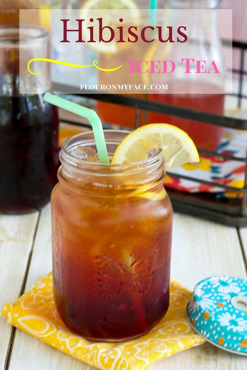 Hibiscus Iced Tea recipe made with a hibiscus simple syrup via flouronmyface.com