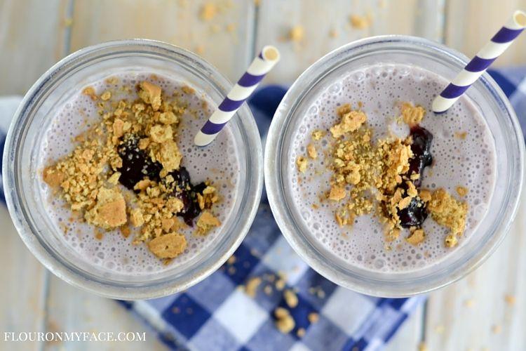 Lactaid Blueberry Pie Milkshake recipe via flouronmyface.com