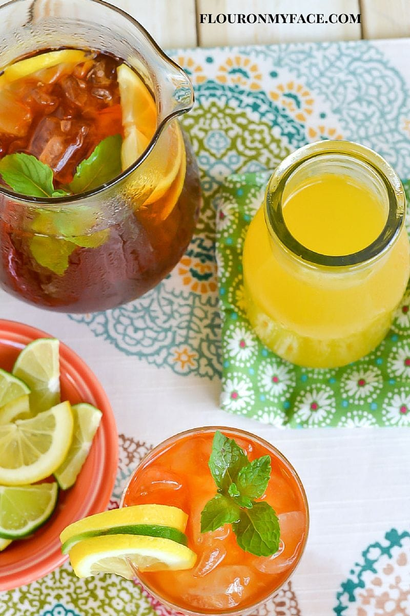 Mango Iced Tea made with mango simple syrup via flouronmyface.com