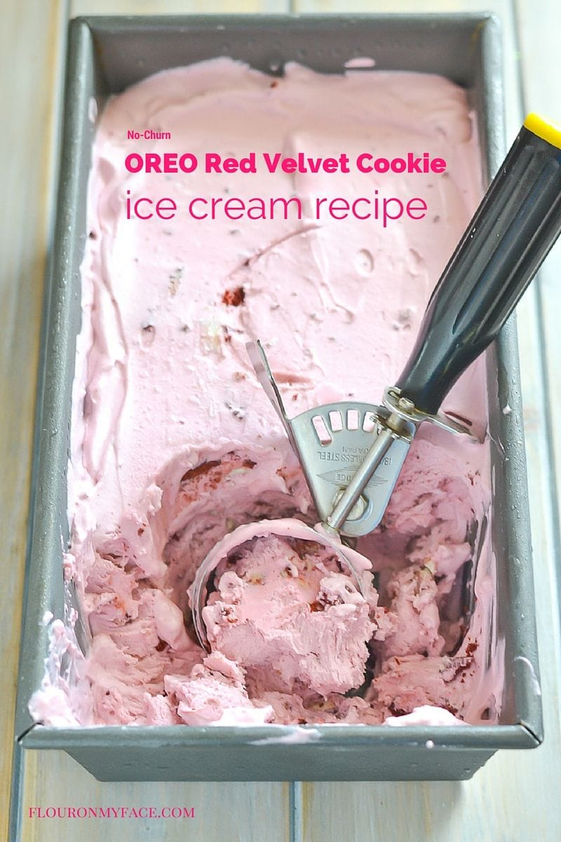OREO Red Velvet Cookie Ice Cream recipe via flouronmyface.com