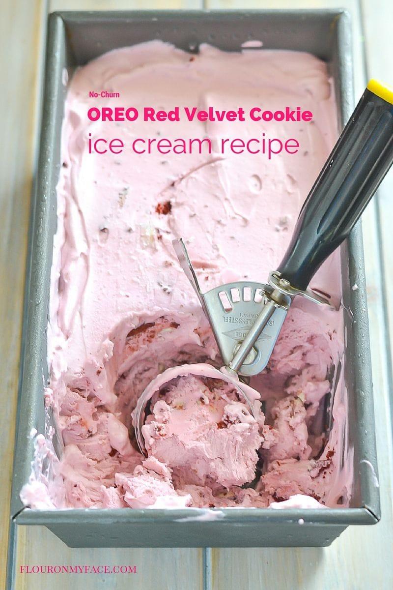 OREO Red Velvet Cookie Ice Cream recipe via flouronmyface.com