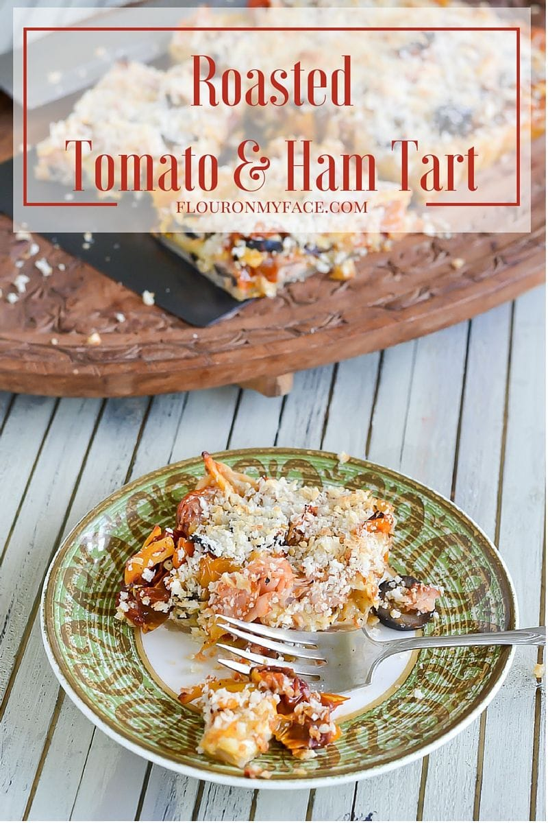 Roasted Tomato and Ham Tart recipe made with heirloom cherry tomatoes via flouronmyface.com