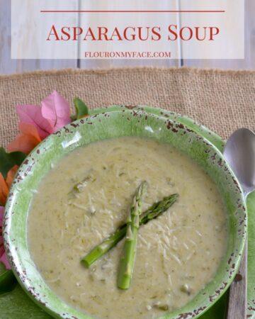 Cream of Roasted Asparagus Soup recipe via flouronmyface.com