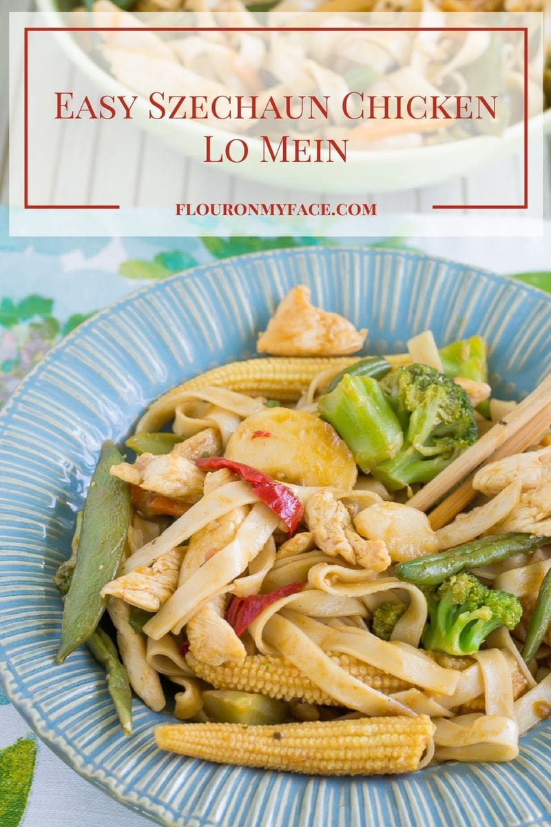 Easy Szechaun Chicken Lo Mein made at home in about 20 minutes. No need to call for Chinese food take out via flouronmyface.com