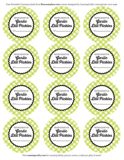 Free Printable Garlic Dill Pickle Canning Labels via flouronmyface.com