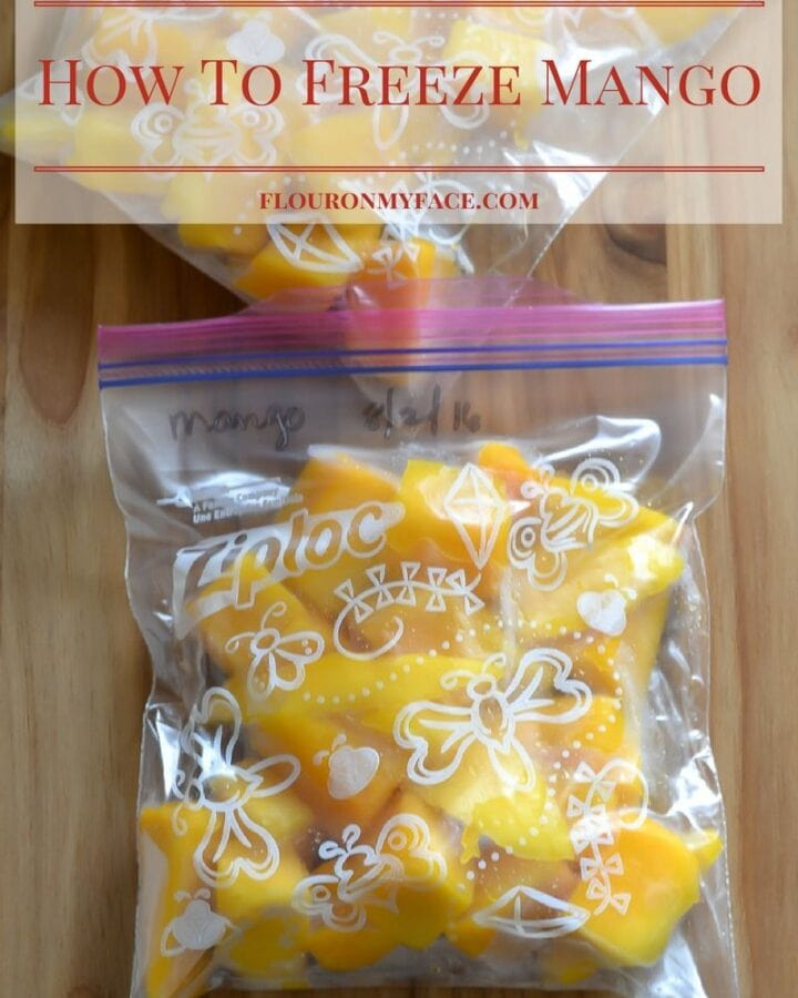 How to freeze mango for smoothies, frozen cocktails and mango flavored drinks via flouronmyface.com