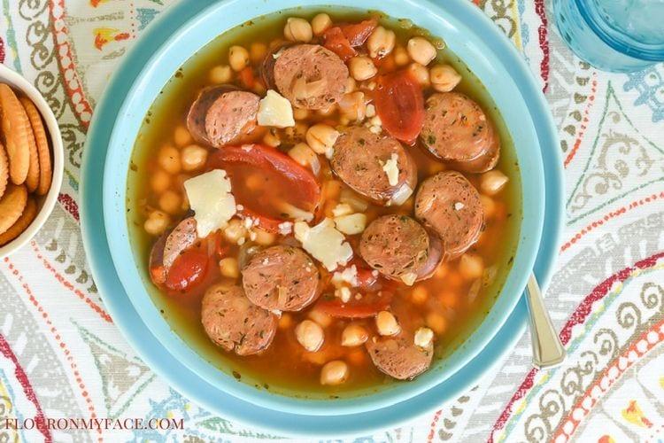 Italian Sausage Garbanzo Bean Soup recipe via flouronmyface.com