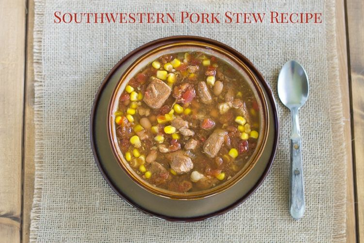Budget friendly crock pot recipe for SOuthwestern Pork Stew via flouronmyface.com